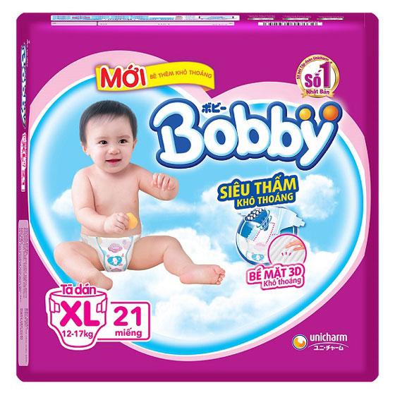 Tã dán Bobby siêu thấm khô thoáng size XL 21 miếng, trẻ từ 12-17kg