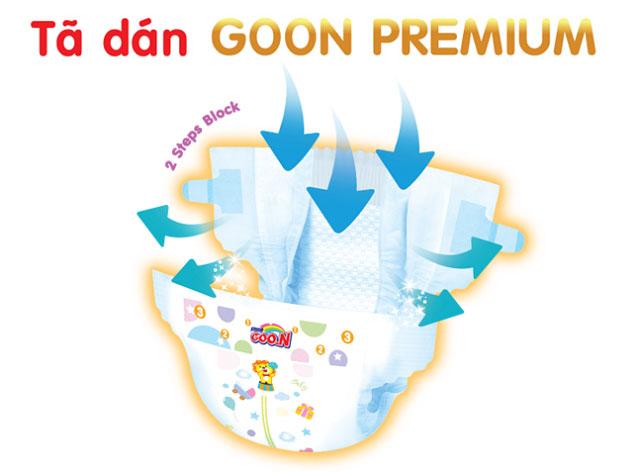 Tã dán sơ sinh GOON Premium Newborn 70 miếng, trẻ 5kg.