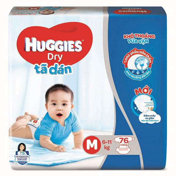 Tã dán Huggies size M 74 miếng cho trẻ 5-10 kg