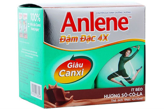 lốc sữa anlene đậm đặc 4x hương socola hộp 110ml