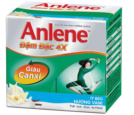 lốc sữa anlene đậm đặc 4x hương vani hộp 110ml