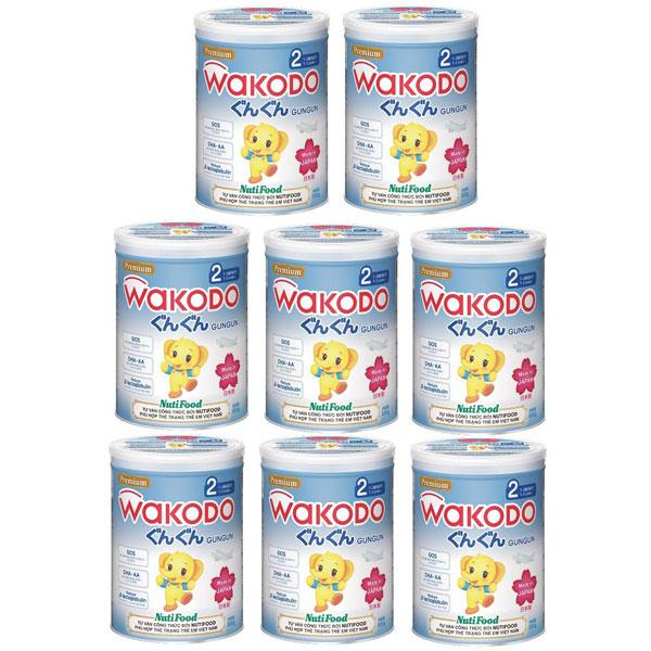 thùng sữa wakodo số 2 lon 830g cho trẻ 1-3 tuổi