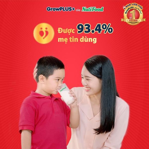 Sữa bột NutiFood Grow Plus + Đỏ lon 900g cho trẻ trên 1 tuổi